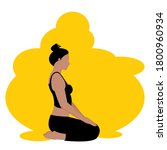 young woman  is vajrasana  yoga ... | Shutterstock .eps vector #1800960934