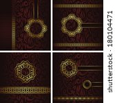 vector set of vintage cards.... | Shutterstock . vector #180104471