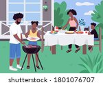 african family barbeque flat... | Shutterstock .eps vector #1801076707