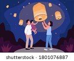 sky lantern festival flat color ... | Shutterstock .eps vector #1801076887