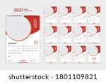 wall calendar 2021 template ... | Shutterstock .eps vector #1801109821