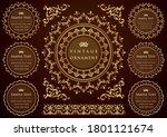 vintage ornament set. flourish... | Shutterstock .eps vector #1801121674
