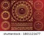 vintage ornament set. flourish... | Shutterstock .eps vector #1801121677