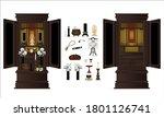 japanese buddhist altar vector... | Shutterstock .eps vector #1801126741