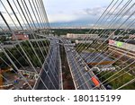 St-Petersburg, Russia -  August 31, 2007: View from the top of the cable-stayed bridge for car traffic, the city in northern Europe, motor transport crossroads,  ring road.  - stock photo