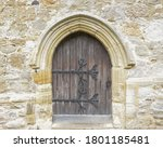 Old Wooden Door With Large Iron ...