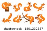 funny squirrel set. cartoon... | Shutterstock .eps vector #1801232557