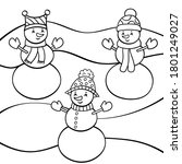 vector coloring page with three ... | Shutterstock .eps vector #1801249027