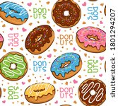 seamless pattern cute donut... | Shutterstock .eps vector #1801294207