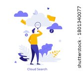 person looking at cloud through ... | Shutterstock .eps vector #1801340077
