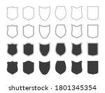 shields badge icon set. outline ...   Shutterstock .eps vector #1801345354