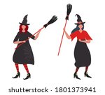 witches dance with brooms.... | Shutterstock .eps vector #1801373941