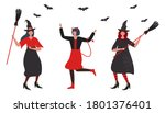 halloween party. witches and... | Shutterstock .eps vector #1801376401