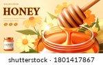 wildflower honey ads with honey ... | Shutterstock .eps vector #1801417867
