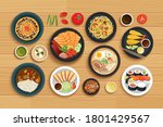 japanese food on top view...   Shutterstock .eps vector #1801429567