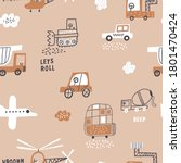 childish seamless pattern with... | Shutterstock .eps vector #1801470424
