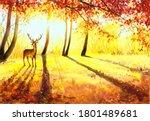 Watercolor Painting   Deer In...