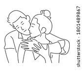 couple in love. two hugging... | Shutterstock .eps vector #1801489867