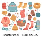 Winter Knit Clothes. Knitting...