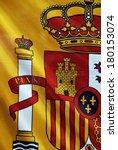 detail of the spain flag waving ... | Shutterstock . vector #180153074