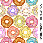 colorful donuts seamless... | Shutterstock . vector #1801603927