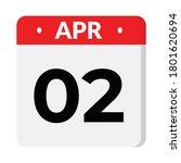 2 april calendar icon  vector... | Shutterstock .eps vector #1801620694