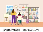 mother or tutor are helping... | Shutterstock .eps vector #1801623691