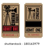 retro cinema ticket  vector... | Shutterstock .eps vector #180163979