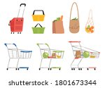 set of isolated carts  baskets... | Shutterstock .eps vector #1801673344