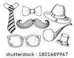 men's accessory set. hat  pipe  ... | Shutterstock .eps vector #1801689967