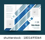 trifold blue stripes lines... | Shutterstock .eps vector #1801695064