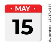 may 15 flat style calendar icon | Shutterstock .eps vector #1801714894