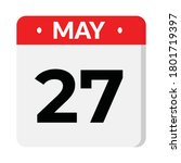 may 27 flat style calendar icon | Shutterstock .eps vector #1801719397