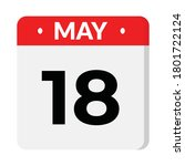 18 may flat style calendar icon | Shutterstock .eps vector #1801722124
