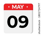 09 may flat style calendar icon | Shutterstock .eps vector #1801724797