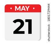 21 may calendar icon  vector... | Shutterstock .eps vector #1801729444