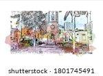building view with landmark of... | Shutterstock .eps vector #1801745491