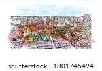 building view with landmark of... | Shutterstock .eps vector #1801745494
