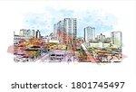 building view with landmark of... | Shutterstock .eps vector #1801745497