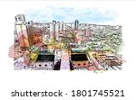 building view with landmark of... | Shutterstock .eps vector #1801745521