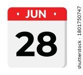 jun 28 flat style calendar icon ... | Shutterstock .eps vector #1801750747