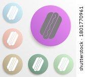 hot dog badge color set. simple ...