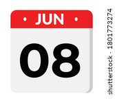 08 june flat style calendar... | Shutterstock .eps vector #1801773274