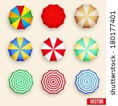 Beach set symbols of sun umbrellas. Summer sunny parasol. Vector, eps10.