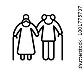 old couple icon. simple line ...