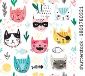 seamless pattern with cute... | Shutterstock .eps vector #1801780321