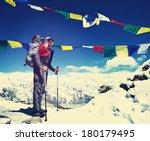 Hiker in Nepal,Everest region - stock photo