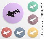 toy plane badge color set icon. ...