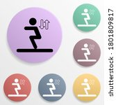 long jump badge color set icon. ...