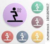 long jump badge color set icon. ...